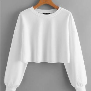Shein white cropped long sleeve size xs